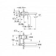 Grohe Bauloop Wall Basin Mixer Chrome 20289000
