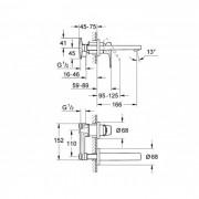 Grohe Bauflow Wall Basin Mixer Chrome 20287000