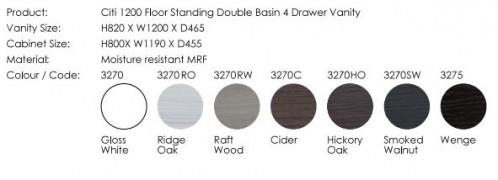 Citi 1200 Floor Standing Vanity Double Basin Cinder