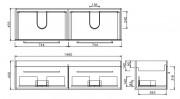 CITI 1500 WALL HUNG VANITY DOUBLE BASIN 2 DRAWER RAFT WOOD