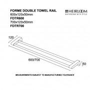 Forme Double Towel Rail 600mm