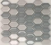 Elongated Hexagons Blue Mosaic 331x290